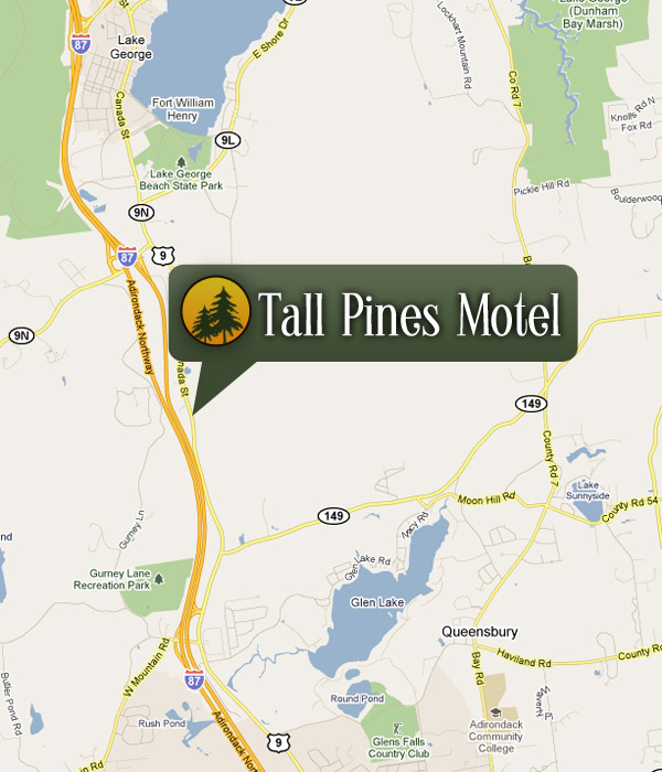 Lake George New York Map.Directions To The Tall Pines Motel In Lake George New York